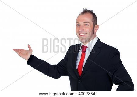 Young businessman with his hand extended isolated on white background