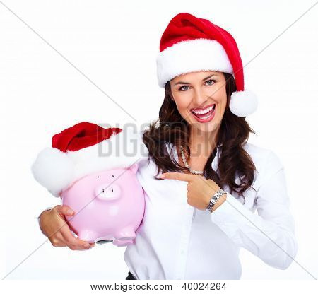Santa helper Christmas business woman with a piggy bank isolated on white background.
