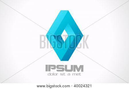 Logic rebus abstract logo template. Infinite loop shape. Rhombus Ribbon Vector.