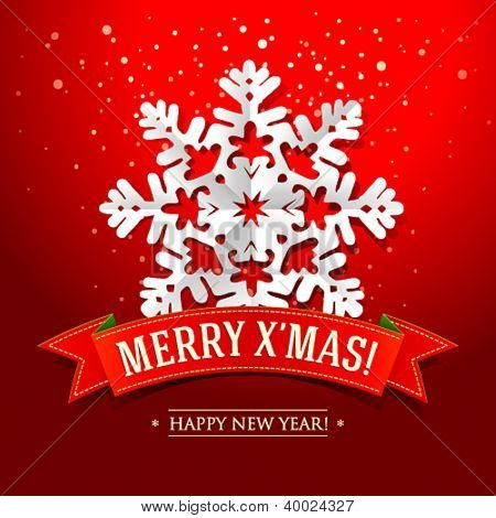 Christmas card with paper snowflake and inscription on a red ribbon. Vector illustration.