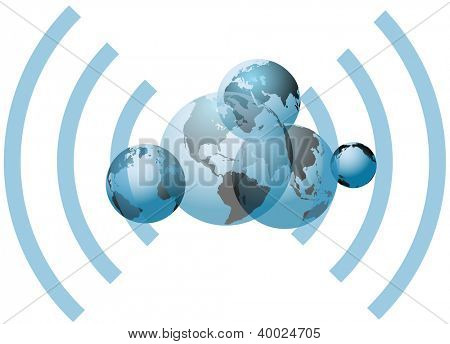 Global wifi wireless network connects many worlds