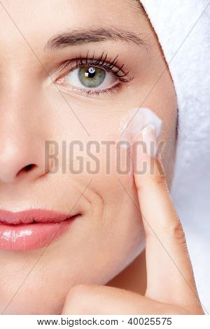 Face of beautiful woman. Spa massage concept background.