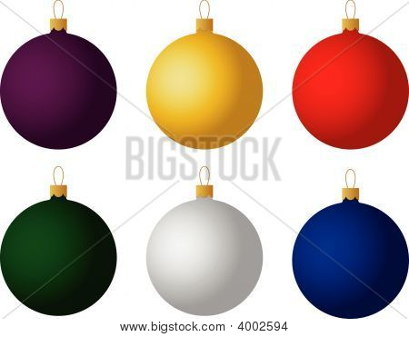 Set Of Six Christmas Ornaments. Vector.