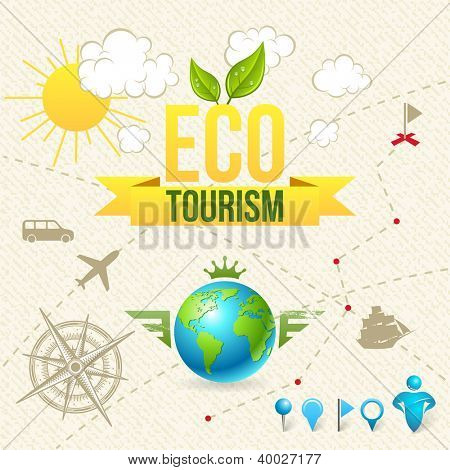 Vector Icon and Label of Eco Tourism and Travel. Design Elements.