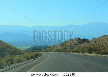 Highway in Chiriaco mountains, CA