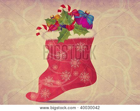 Vintage Christmas Sock Background