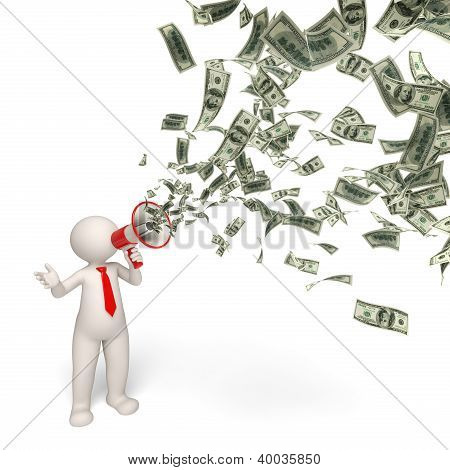 3D Business Man Motivaton - Money Announcement