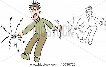 Man in electric shock