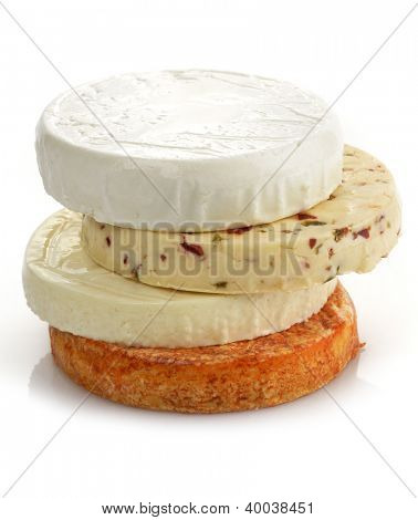 Assortment Of Cheese On White Background