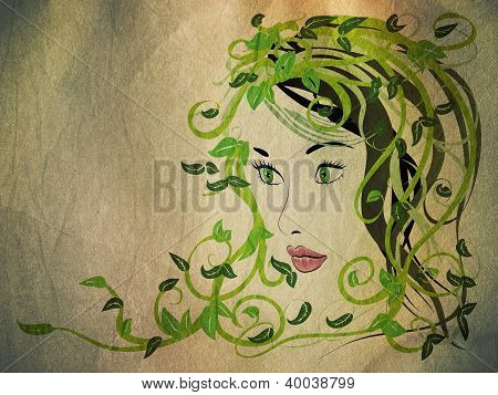 Grunge Girl With Floral Hair
