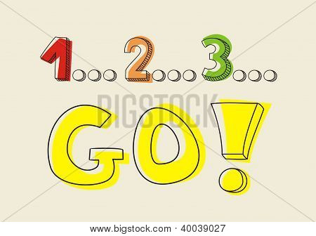 Countdown: 1 2 3 go! Hand drawn doodle colorful vector illustration - sketch with yellow marker