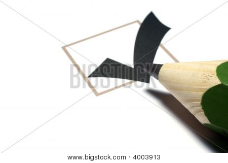 Checkbox With Tick And Big Green Pencil Isolated On White Background.