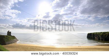 Panorama Of A Beautiful Bright Sun Over The Ballybunion Beach