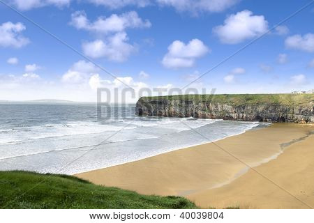 View Over The Beach And Cliffs In Ballybunion