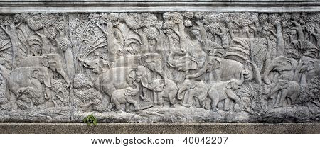 Elephants Bas-relief