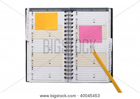 Open Organizer With Pencil