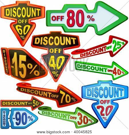 set of arrow labels for sales with discounts