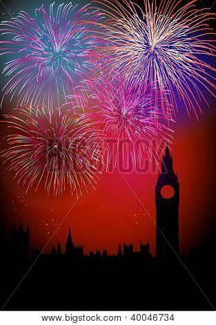 Feliz año nuevo Englsih fuegos artificiales