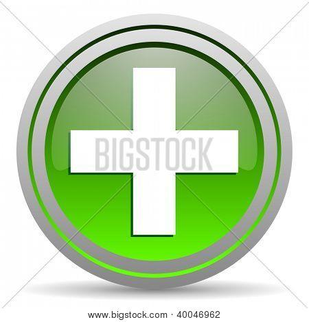 emergency green glossy icon on white background