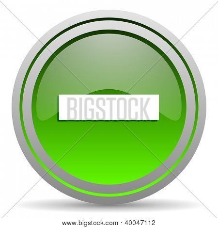 minus green glossy icon on white background