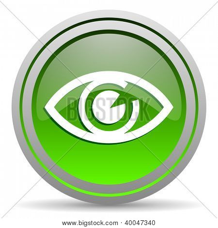 eye green glossy icon on white background