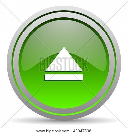 eject green glossy icon on white background
