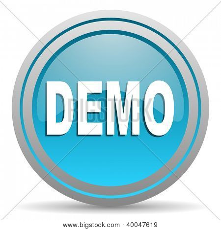 demo blue glossy icon on white background