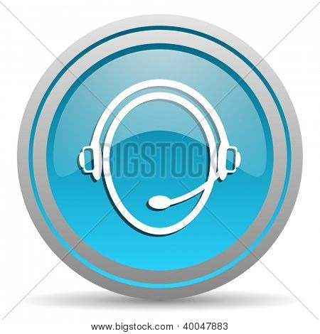 customer service blue glossy icon on white background