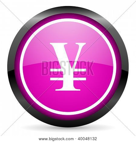 yen violet glossy icon on white background