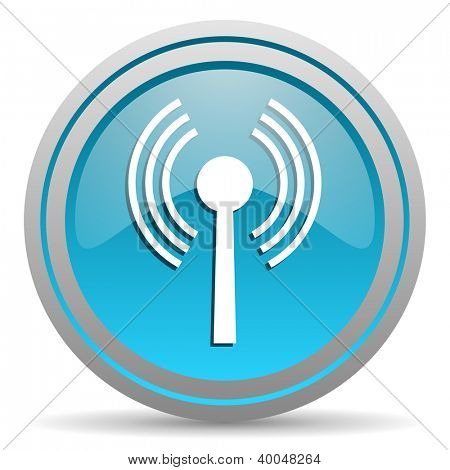 wifi blue glossy icon on white background