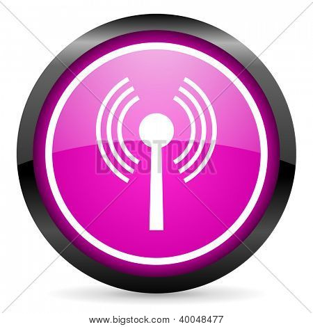 wifi violet glossy icon on white background