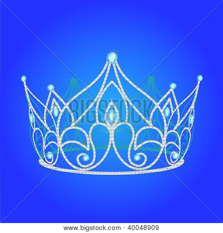 Tiara Women  Wedding With Blue Jewels