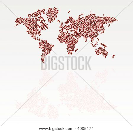 Stylized Dotted World Map With Reflection