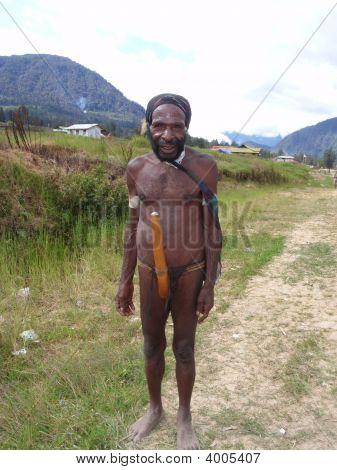 Dani Tribal Member Wearing A Penis Gourd