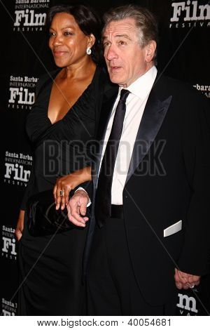 LOS ANGELES - DEC 8:  Grace Hightower, Robert DeNiro arrive to the SBIFF Kirk Douglas Award  at Bacara Resort & Spa on December 8, 2012 in Santa Barbara, CA