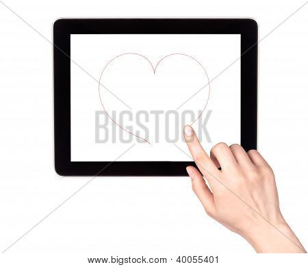 Woman Hand Draws The Heart