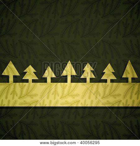 Christmas card made of golden fancy paper, vector eps8 illustration