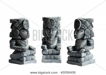 Mayan God Statuette Statue In Triplicate