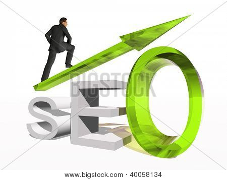 Concept or conceptual 3D green glass SEO symbol with arrow pointing up isolated on white background with businessman as a metaphor for business,website,optimize,strategy,success,traffic or information