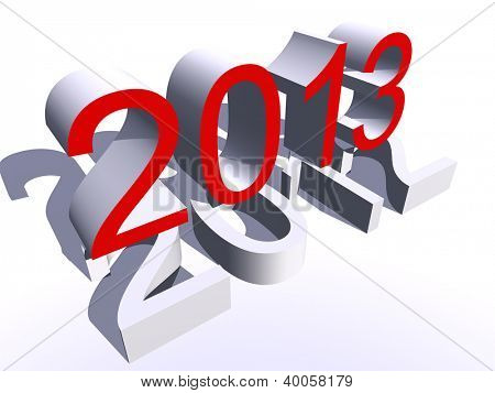 High resolution concept or conceptual 3D red 2013 year isolated on white background as metaphor to holiday,symbol,Christmas,calendar,happy,eve,December,January,time,season,new year or winter graphic