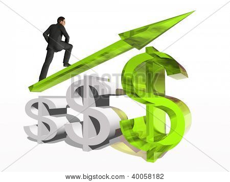 Concept or conceptual 3D green glass dollar symbol with arrow pointing up isolated on white background with businessman as metaphor for business,finance,money,growth,success, stock,currency or economy