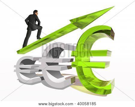 Conceito ou símbolo de euro conceitual 3D vidro verde com a seta apontando para cima isolado no fundo branco