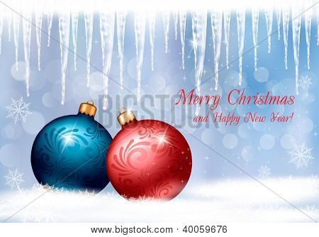 Christmas background with two colorful balls and icicles. Vector illustration.