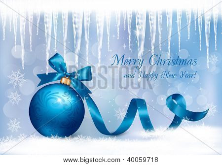 Christmas background with blue gift ball and icicles. Vector illustration.