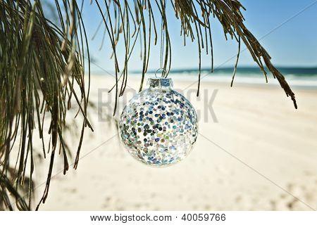 xmas ball hangs from a tree, summer christmas!