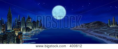 poster of City With Moon