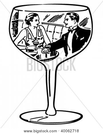 Couple In Wine Glass - Retro Clipart Illustration