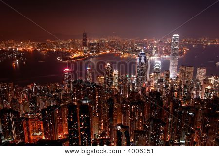 Hong Kong By Night From The Peak