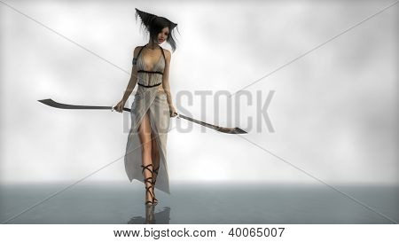 young elf girl with two swords