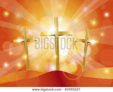 Ostern Karfreitag Gold Kreuze Abbildung